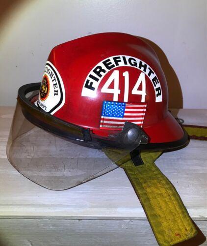 FIRE FIGHTER HELMET/ Fiberglass-/Morning Pride lite force 1 w/ face shield