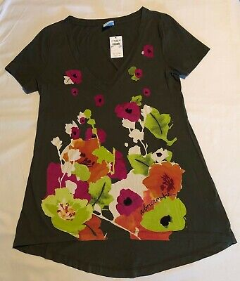 New abercrombie kids green floral tunic t-shirt top v-neck girls x-large XL