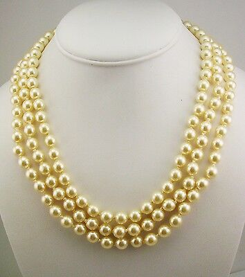Pearl Pouch - Jackie Kennedy Iconic Triple Strand Faux Pearl Necklace (w/pouch/certificate)