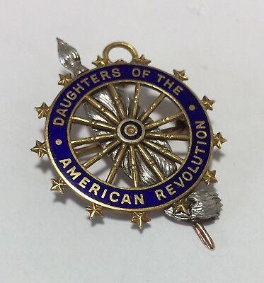 14K Gold & Enamel DAR Daughters of the American Revolution Pin Medal ~ Caldwell