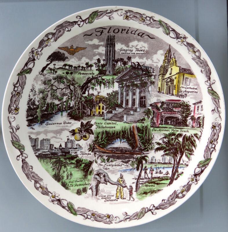 Vintage FLORIDA (Artist: Davidson) Color Collector's Plate*Vernon Kilns Pottery