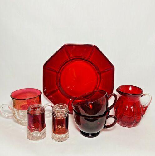 7 Pc Lot Ruby Red Flash Depression Glass Souvenir Creamer Sugar Shaker Cup Plate