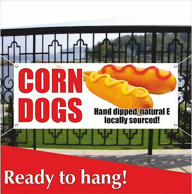 Corn Dogs Banner Vinyl Mesh Banner Sign Carnival Hot Dog Stand Cart Food Truck