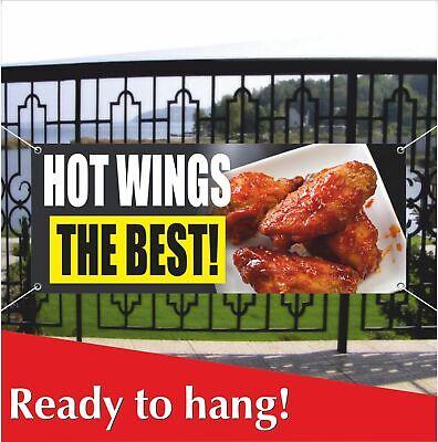 HOT WINGS THE BEST Advertising Vinyl Banner / Mesh Banner Sign Chicken (The Best Chicken Wings)