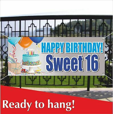 HAPPY BIRTHDAY SWEET 16 Banner Vinyl / Mesh Banner Sign Party Decoration Holiday