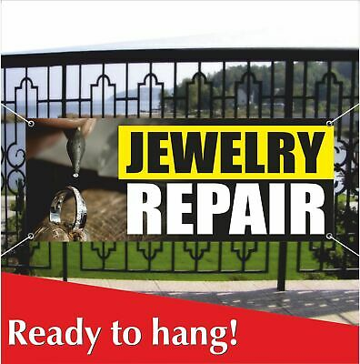 Jewelry Repair Banner Vinyl Mesh Banner Sign Bracelet Earrings Necklace Silver