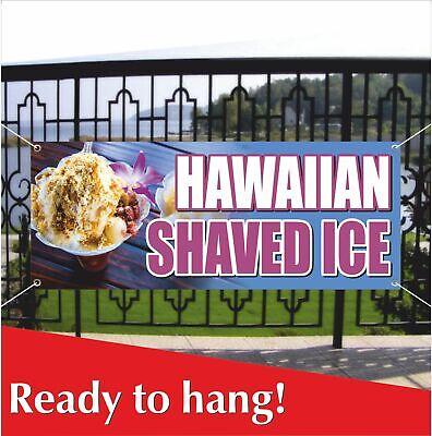 Hawaiian Shaved Ice Banner Vinyl Mesh Banner Sign Snocone Snow Cones Sno