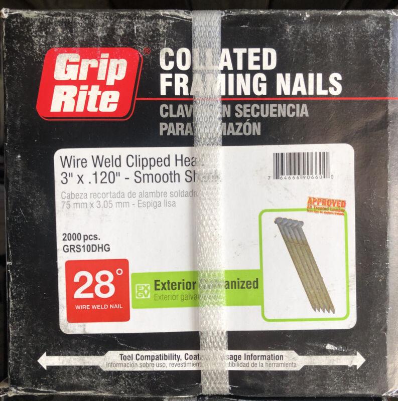"""Grip Rite 3"""" x .120 (10D) Galvanized Smooth Shank 28 Deg Round Head Nails"""