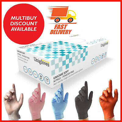 100 DISPOSABLE NITRILE GLOVES POWDER FREE LATEX FREE VINYL PINK BLUE TATTOO CAR