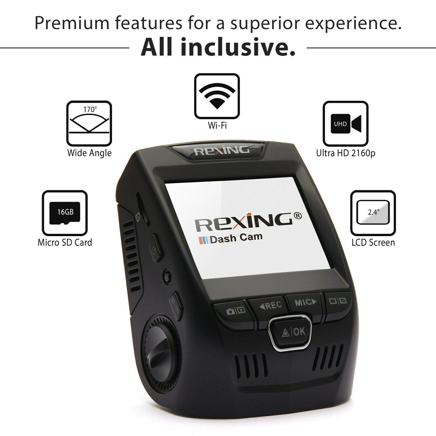"""Rexing V1 3rd Generation 4K UHD WiFi Car Dash Cam 2.4"""" LCD 1"""