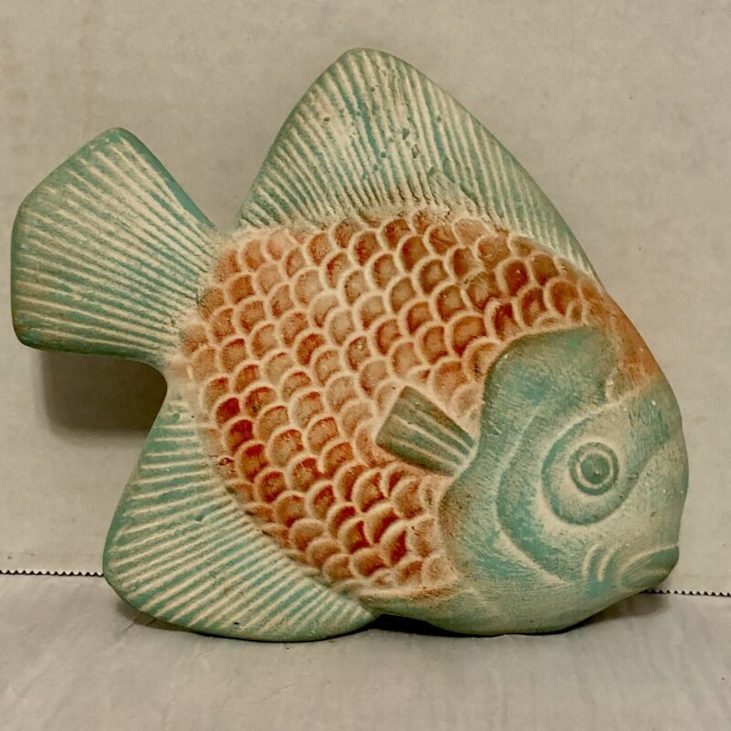 Terracotta Fish Art Decor Light Green & Light Red Aquatic Animal , Preowned Used