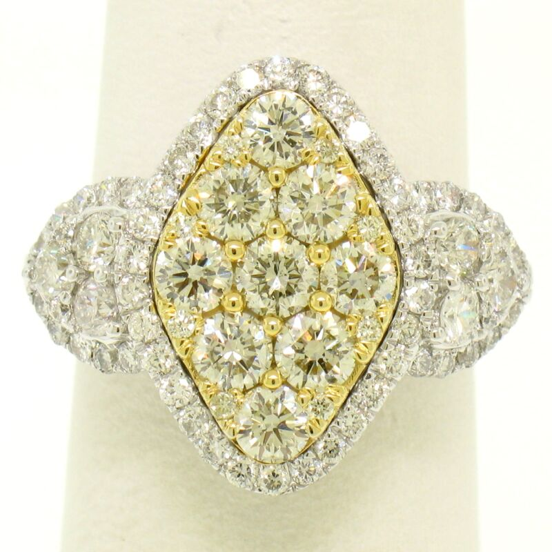 18k Two Tone Gold 2.44ctw Brilliant White & Fancy Yellow Diamond Marquise Ring