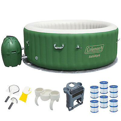 Coleman 6 Person Inflatable Hot Tub + Music Center + 6 Filters + Cleaning Set