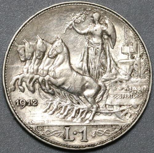 1912 Italy 1 Lira Horses & Chariot Silver XF Coin (20071306R)