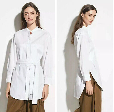 VINCE Large White Belted Waist Tie Oversized Tunic Long Blouse Top Belted Blouse Top