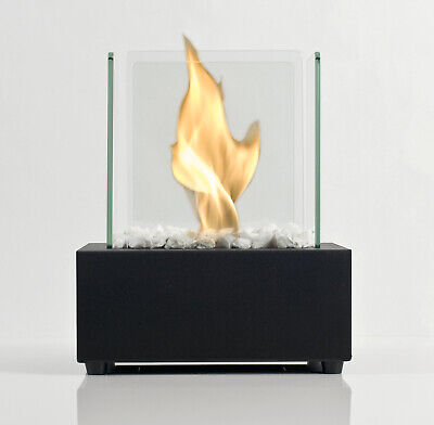 Bio Fires - Bio Ethanol Tabletop Burner Fireplace Glass Cube Black Bioethanol
