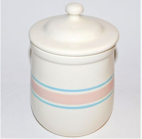 Nelson McCoy Pottery Canister 135 Pink Blue Bands Cookie Jar USA Vintage Signed
