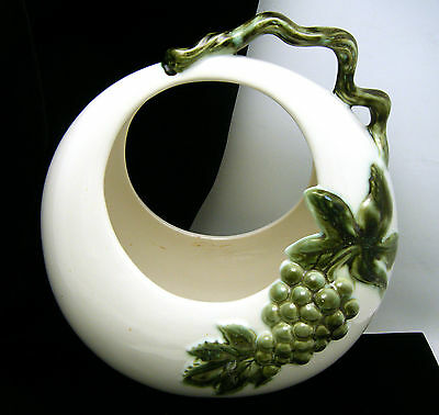 Tokay Pottery Basket Planter Green White Grapes Vine Leaf on Lookza