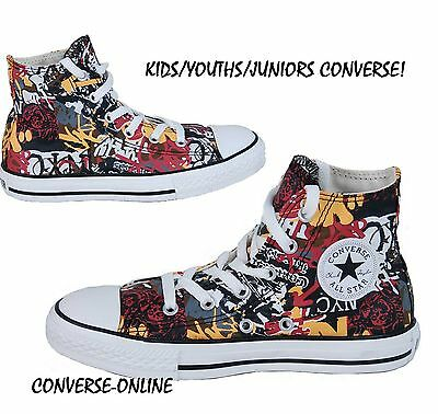Kids Boys Girls Converse All Star Green Nyc Graffiti Hi Top Trainers Size Uk 13