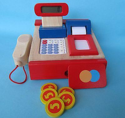 Kinder Ladenkasse aus Holz Kaufladenkasse & Taschenrechner Kaufladen °51807