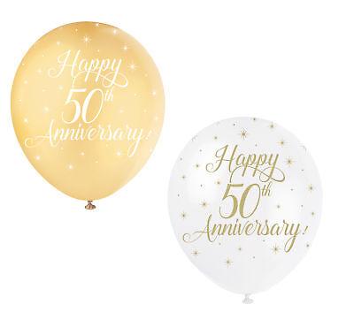 5 X Feliz 50th Aniversario Globo Dorado Fiesta Boda Decoración Dorado y...