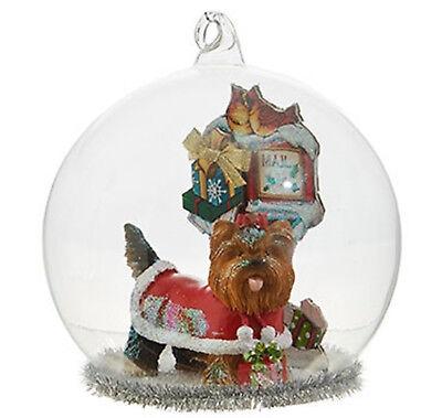 RAZ Yorkshire Terrier Christmas Dog Glass Dome Xmas Ornament Approx 10cm x 9cm ()