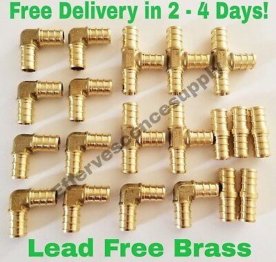 12 Brass Pex Fittings 10 Elbows 5 Couplings 5 Tees Lead Free Brass