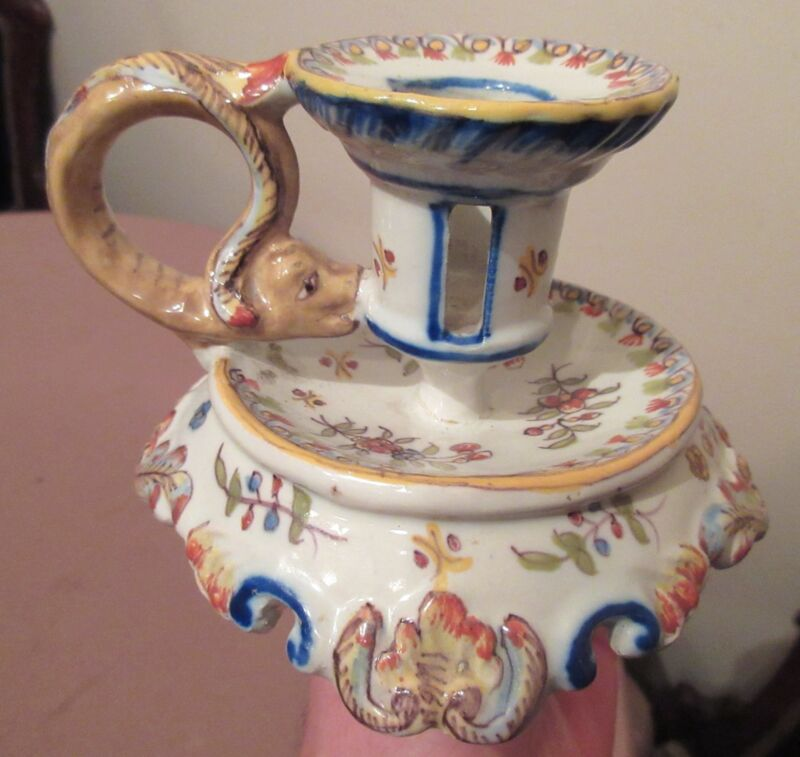 antique handmade Rouen Cornucopia French majolica porcelain candle stick holder