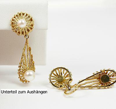 Interessant: Ohrclip (Unterteil zum Aushängen), mit Akojaperlen; Gold 585