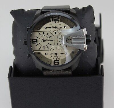 NEW AUTHENTIC DIESEL UBER CHIEF BLACK BROWN CHRONOGRAPH MEN'S DZ7391 WATCH