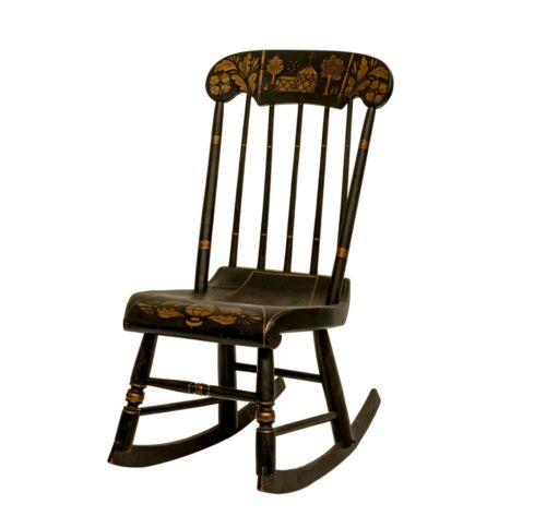 An Antique Folk Art Tole Scene Painted Ebonized Rocking Chair