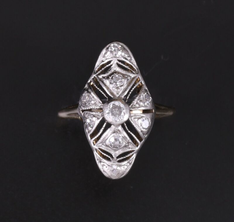 Antique Platinum and 14K Yellow Gold Diamond Filigree Ring