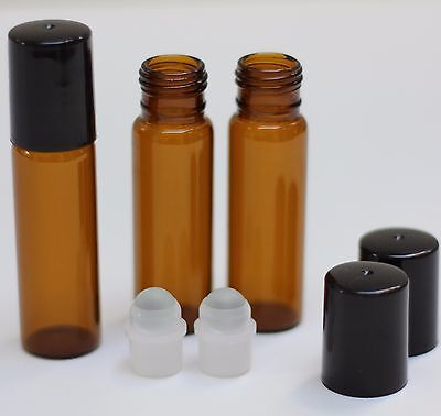 Amber Glass Roll On Bottles   10Ml  Essential Oil Roller Vials 1 3 Oz