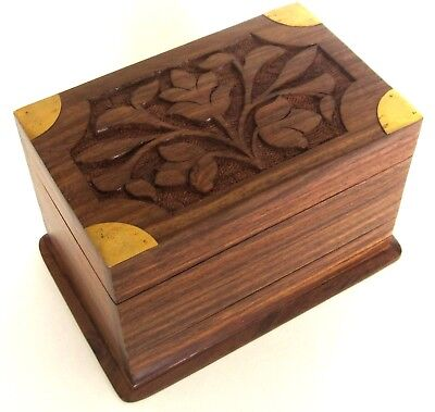 Puzzle Box from India - Flowers Lid - Sheesham Wood - Secret Trick Jewelry Boxes