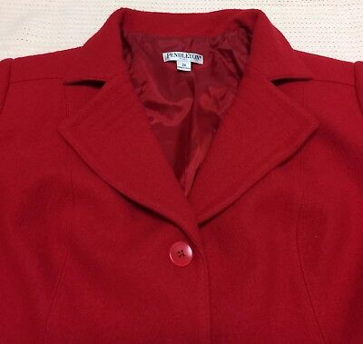 (Pendleton Womens Suit Blazer Jacket Skirt Set Sz 18 2X Wool Christmas Red Lined)