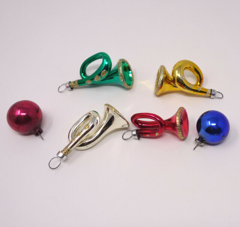 "6 Miniature Vintage Glass Christmas Ornaments Balls Horns 1"" -  2"" Feather Tree"