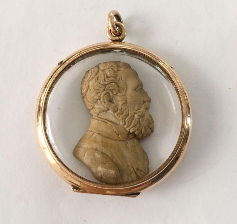 Antique Victorian 14k Lg Locket With Carved Lava Portrait Inside