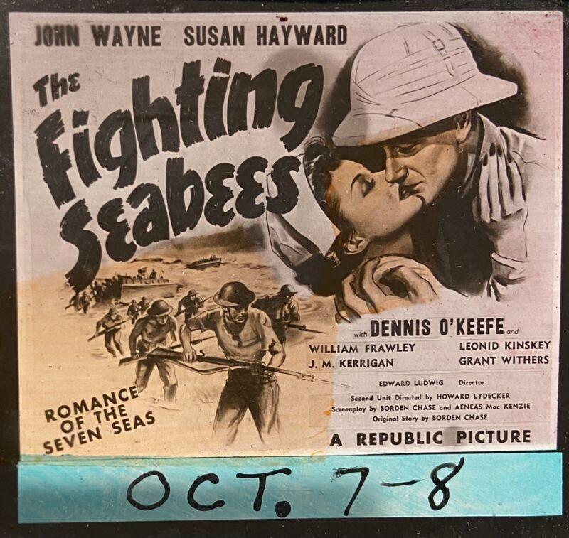 THE FIGHTING SEABEES - Rare 1944 WW2 US Navy Film JOHN WAYNE Movie Glass Slide