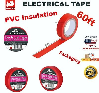 Rhino Pvc Insulation Electrical Tape 34 In X60ft 19mm X 18m Red