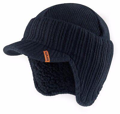 Scruffs Peaked Beanie Hat Navy Insulated Warm Thermal Winter Stylish Peak Cap