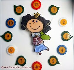 A Decorative fused glass Wall clock Time Fairy