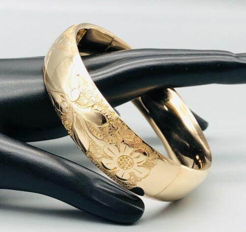 Victorian Antique Gold Filled Hinged Bangle Bracelet Wide Floral Engraved