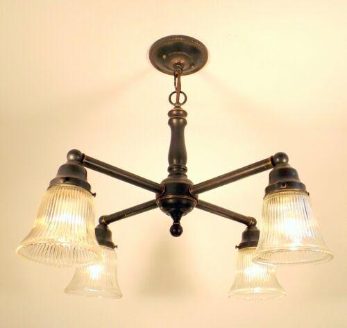 Vintage Arts Crafts Mission Bronze Chandelier Ceiling Light Fixture REWIRED