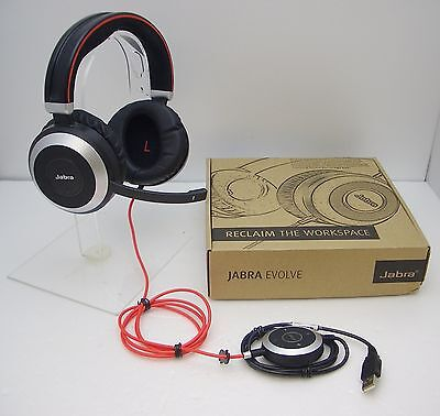 Jabra EVOLVE 80 MS Microsoft Lync Stereo USB Wired PC Headset / Music Headphones