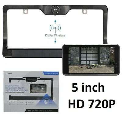 """TYPE S Solar Powered HD 5"""" LED Wireless Backup Camera 720P High Definition"""
