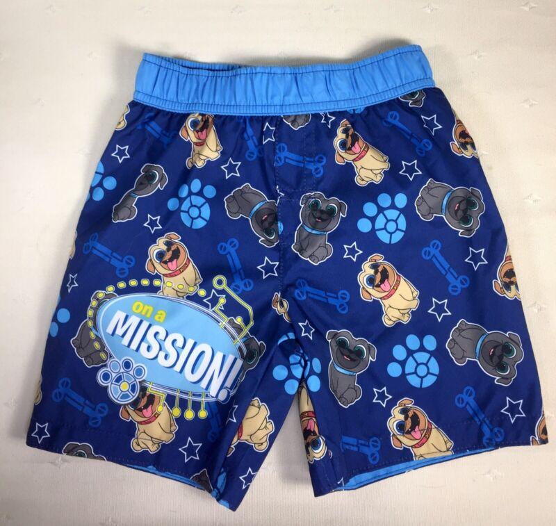 NEW Disney Junior Puppy Dog Pals Boys Swim Trunks Size 3T Blue
