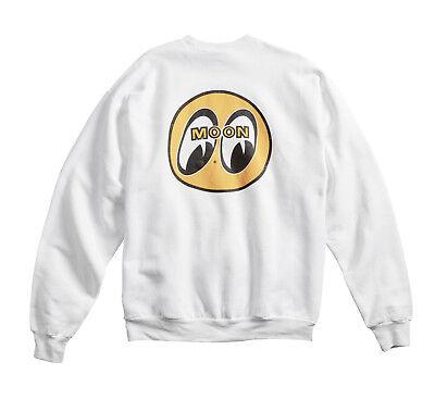 Moon Crewneck Sweatshirt (Men's Mooneyes Moon Equipped Classic Logo White Crew Neck Sweatshirt SM001WHM )