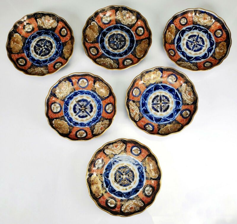 "Antique Japanese IMARI Porcelain Set of 6 Small Plates 4 1/4"" Wide"