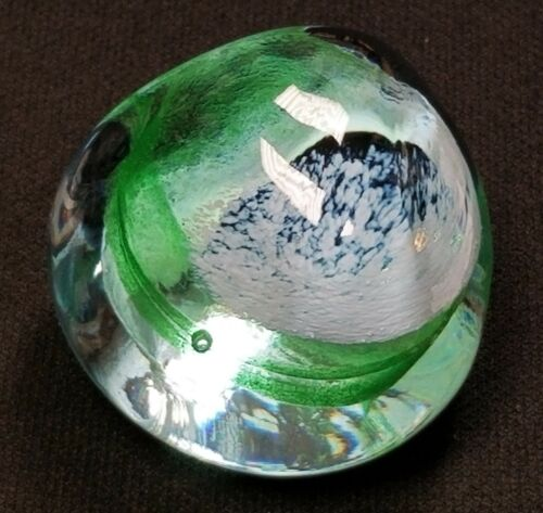 "Caithness Pebble Green & Purple Glass Paperweight Scotland 2"""