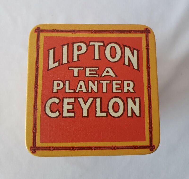 Vintage Lipton Tea Bag Planter Ceylon Collectible Yellow Red Tin Bristol Ware
